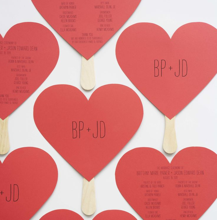 Add a sweet handmade element to your wedding with heart shaped programs from Handmade Weddings by @Eunice & Sabrina  Moyle.