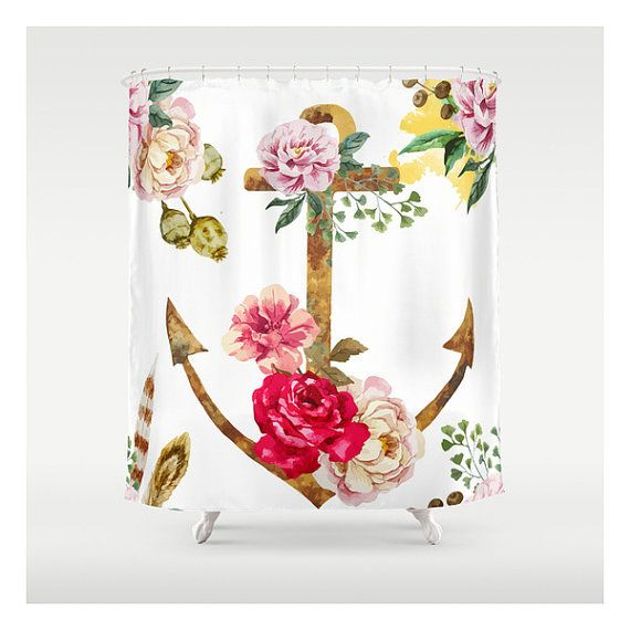 Ancre floral Illustration - Custom Made - rideaux de douche - douche Unique rideaux - accessoires de salle de bain