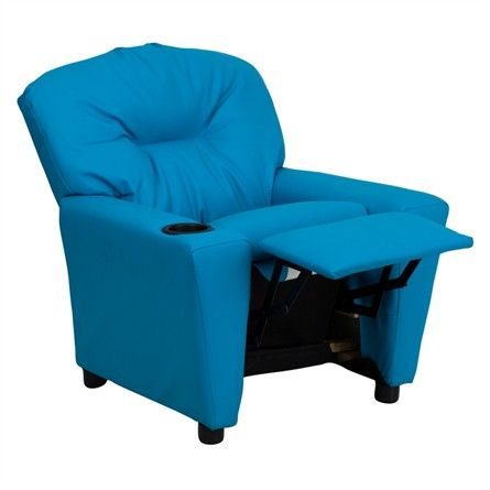 The Modern Kids' Turquoise Vinyl Recliner with Cup Holder will become your child's favorite perch!
