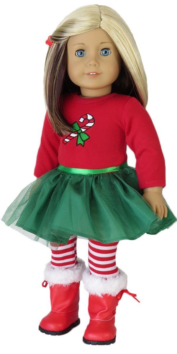 Silly Monkey - Red and Green Candy Cane Dress and Leggings, $15.00 (http://www.silly-monkey.com/products/american-girl-doll-candy-cane-dress-and-leggings.html)