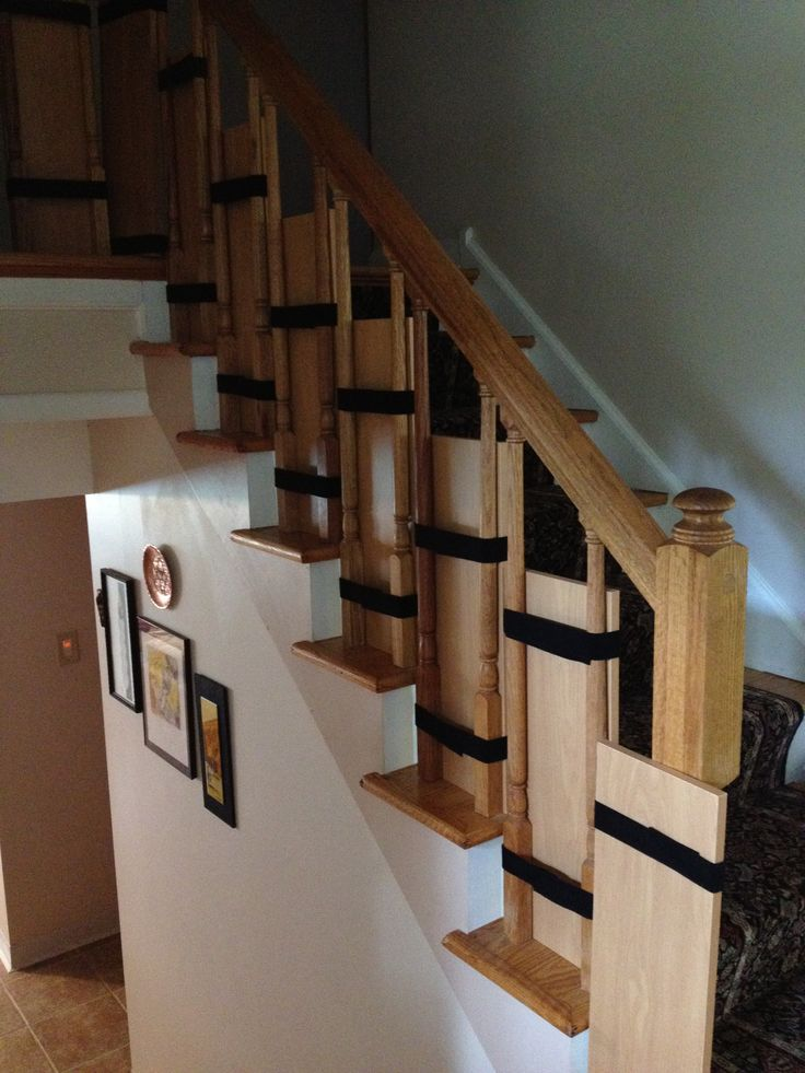 Babyproof stairs with shelves and industrial strength Velcro