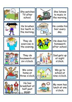 Daily Routine Game. ESL powerpoint worksheet of the day on April 19, 2015 by plaguemonkey.