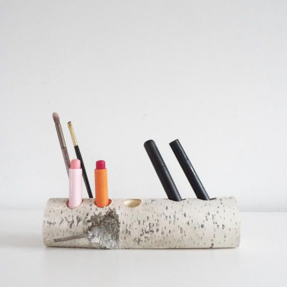 Weiße Birke Holz Make-up Organizer Holz-Kosmetik-Organisator