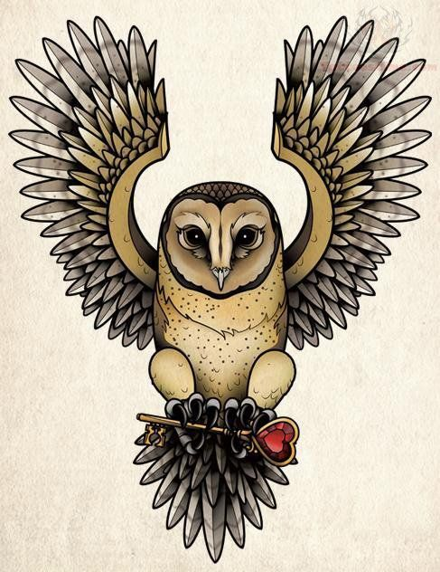 Color Flying Owl Tattoo Design
