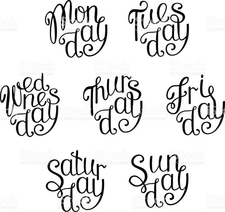 Vector handwritten days of the week in circles. Lettering. royalty-free stock vector art