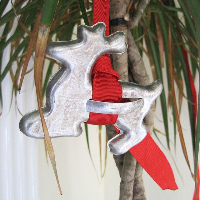 Cute idea! Ornaments from cookie cutters & ribbon...