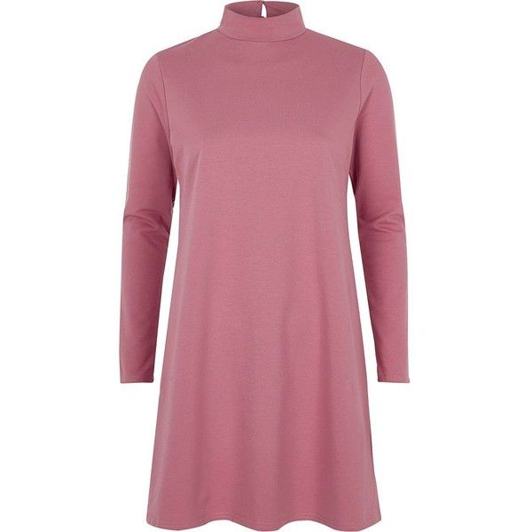 River Island Pink turtleneck swing dress (£26) ❤ liked on Polyvore featuring dresses, pink, long-sleeve turtleneck dresses, long sleeve trapeze dress, long sleeve turtleneck, purple turtleneck and long sleeve dresses