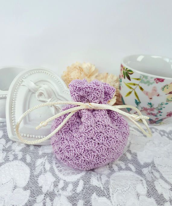 Purple handmade jewelry pouch crochet gift bag purple pouch by Rocreanique on Etsy