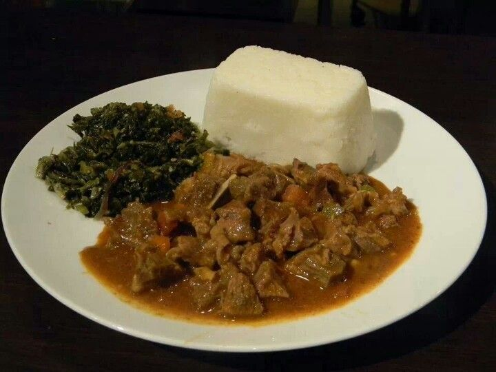 So, so hungry right now. Ugali, skuma, beef stew. This is ...