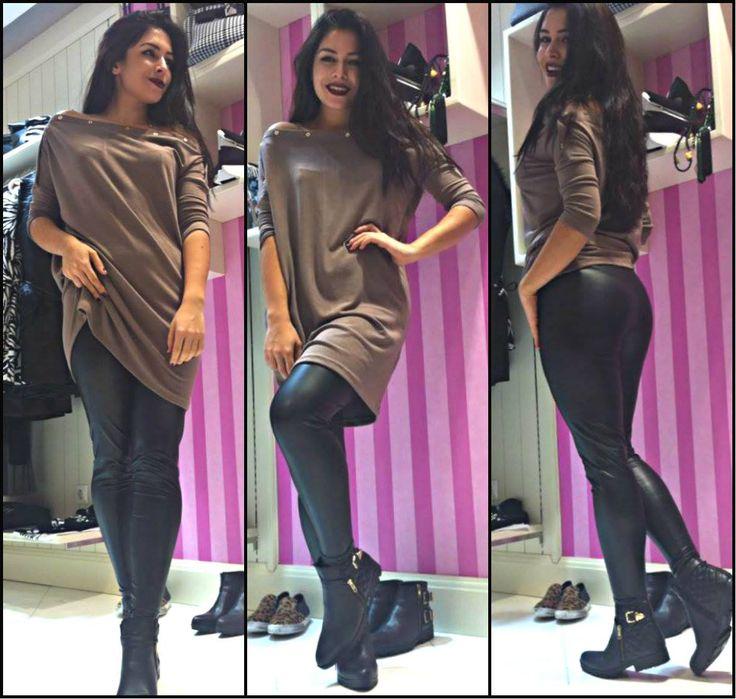 Leather Leggings & Beige Sweater