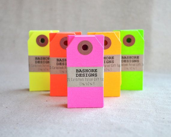 100 Neon Red Parcel Tags Party Favor Tag Blank by BashoreDesigns, $13.00