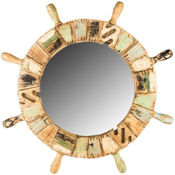 ship wheel wood mirror