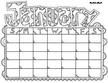 make a colouring in calendar for the kid in your life: printable doodle calendar pages!