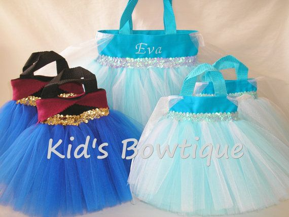 Disney Frozen Themed Birthday Party Pack- 10 Princess Elsa and Anna Inspired Party Favor Tutu Bags with a Monogrammed Tutu Tote Bag
