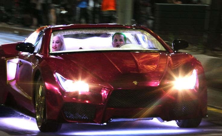 """SUICIDE SQUAD"" JOKER CAR WITH MARGOT ROBBIE AND JARED LETO AS HARLEY QUINN AND THE JOKER"