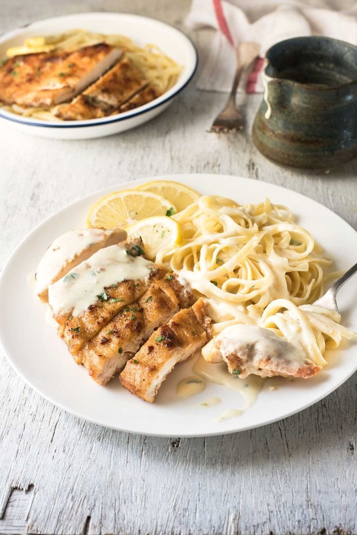 Creamy Lemon Chicken - All made in one skillet, and on the table in about 15 minutes!  *Need to make the sauce thicker.... otherwise really good!