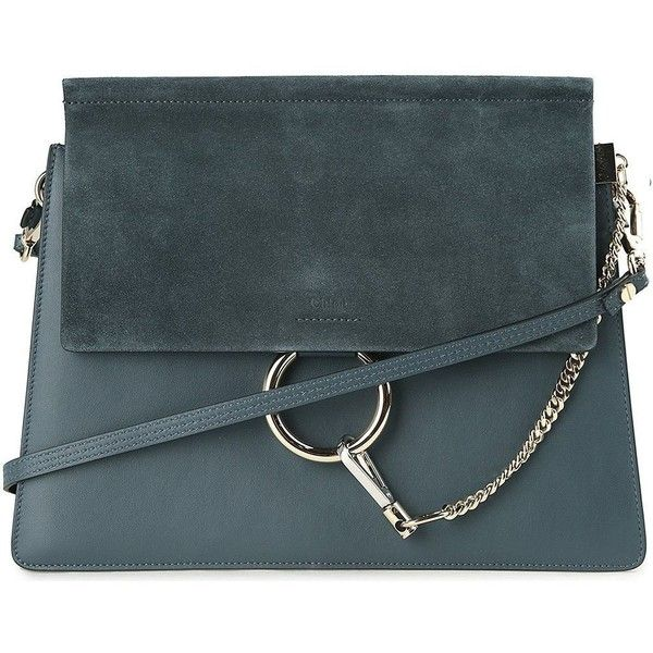 Faye Medium Leather and Suede Shoulder Bag (2 038 855 LBP) ❤ liked on Polyvore featuring bags, handbags, shoulder bags, silver, womenbagsshoulder bags, genuine leather shoulder bag, leather shoulder handbags, blue shoulder bag, blue leather handbags and shoulder handbags