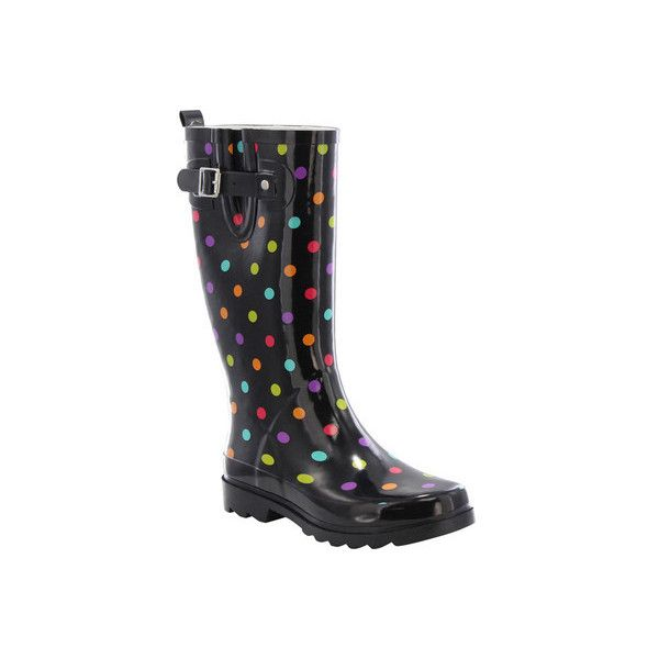 Women's Western Chief Dot City Rain Boot ($42) ❤ liked on Polyvore featuring shoes, boots, black, casual, heels, polka dot rain boots, waterproof rubber boots, tall black boots, black boots and black rain boots