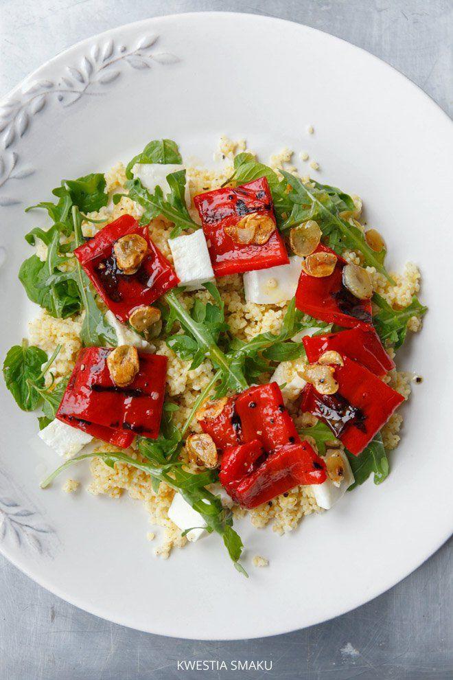 MIGLIO CON PEPERONI GRIGLIATI con aglio, rucola e formaggio feta