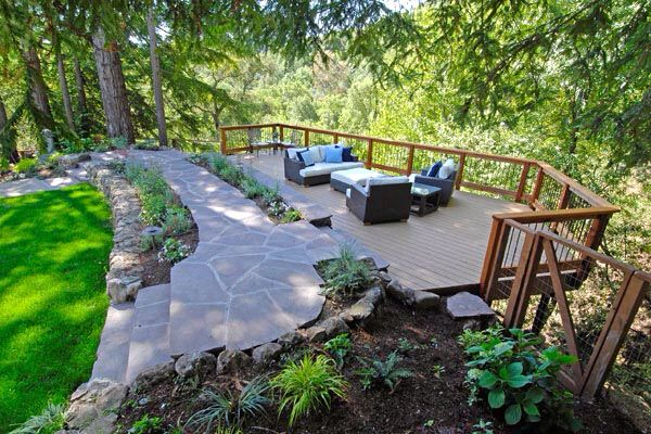Deck over hillside/ slope from http://www.mladesigngroup.com/projects