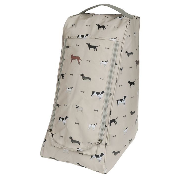 This beautifully made boot bag is made from our dog inspired Woof! oilcloth. It's the perfect storage solution for your mucky wellies! Keep your cupboards and car mud free by simply popping your Wellington Boots in this practical oilcloth zipped bag. The design features wire haired dachshunds, springer spaniels, cocker spaniels, black labradors, jack russells and fox red labradors on a wheat beige background colour.