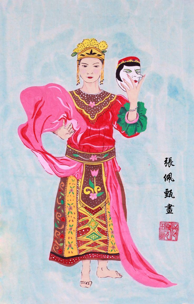 #chinese #Painting #Indonesia #TariTopeng Tari topeng in chinese painting