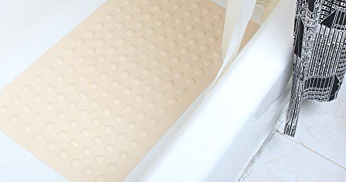 """Luxury Anti Slip Suction Bath Mat - Non Slip Mats for Tub & Shower Bathroom Safety - Latex & PVC Free Natural Rubber, 15.7"""" x 27.5"""" - For Homes, Hotels, Gyms & Long-Term Facilities (Off White / Ivory)"""