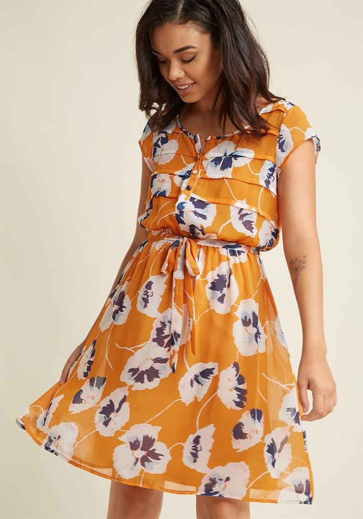 A-Line Chiffon Shirt Dress in Goldenrod Bloom in XL - Cap Knee Length by ModCloth - Plus Sizes Available