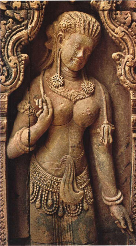 A carved aspara celestial dancing girl at angkor wat