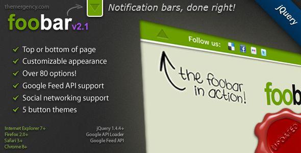 FooBar - A jQuery Notification Bar - CodeCanyon Item for Sale notificatiebalkje bovenin beeld