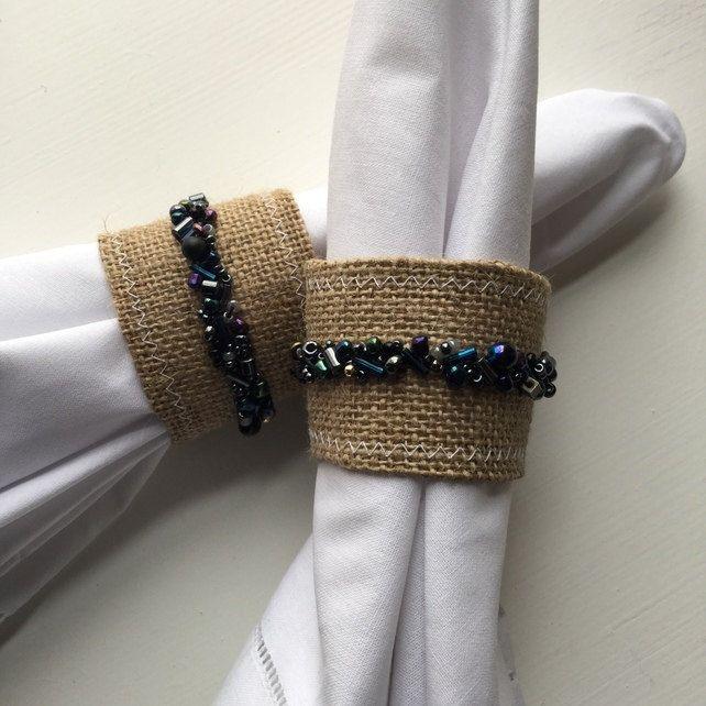 Burlap Napkin Rings, Black Bead Napkin Rings, Pair of Seed Bead Napkin Rings, Hand-beaded Napkin Rings, Hostess Gift, Home Decor - pinned by pin4etsy.com