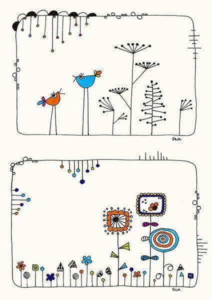 Birds-talk and Garden, Illustration, Zeichnung, Drawing, Print, Karten, Cards