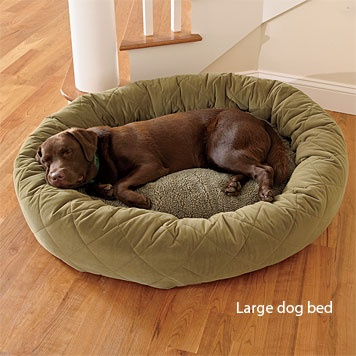Orvis microfiber quilted bagel bed.
