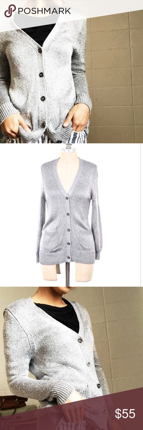 ✨SALE✨ Silver Cardigan By Madewell NWOT Medium Silver Cardigan by Madewell  Fabric: Rayon | Polyamaide (shiny material) Features two front pockets with buttons.  It can also fit a small, but won't be as fit. Taking only reasonable offers! Madewell Sweaters Cardigans