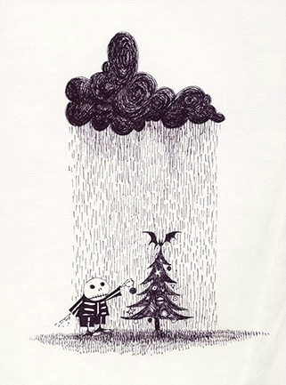'Merry Christmas, but not TOO Merry'. Tim Burton sketch of a Dreary Christmas.