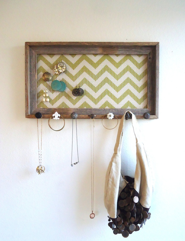 Jewelry Organizer-Holder Barnwood Frame Chevron Distressed Bedroom Decor- 7 Vintage knobs. $72.50, via Etsy.