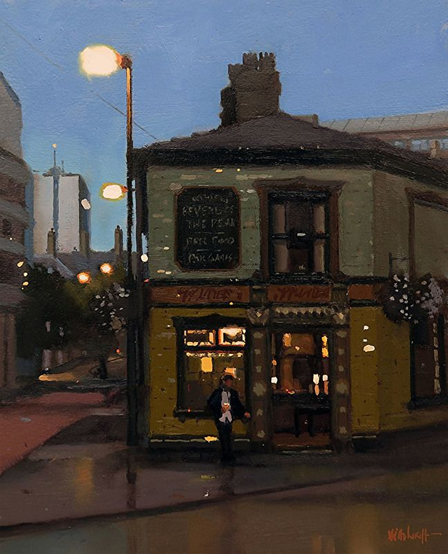 "Summer Downpour, Peveril, Manchester by Michael John Ashcroft Oil ~ 10"" x 8"""