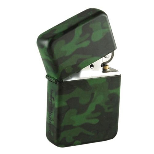 Bomblighter - Camouflage.  Solid windproof metal lighter; Full lifetime guarantee; Comes boxed and in a tin case; Excellent collectors item; Makes an ideal gift! 6cm Tall x 4cm Wide.  For more information please click the link or visit dotcombong.com.
