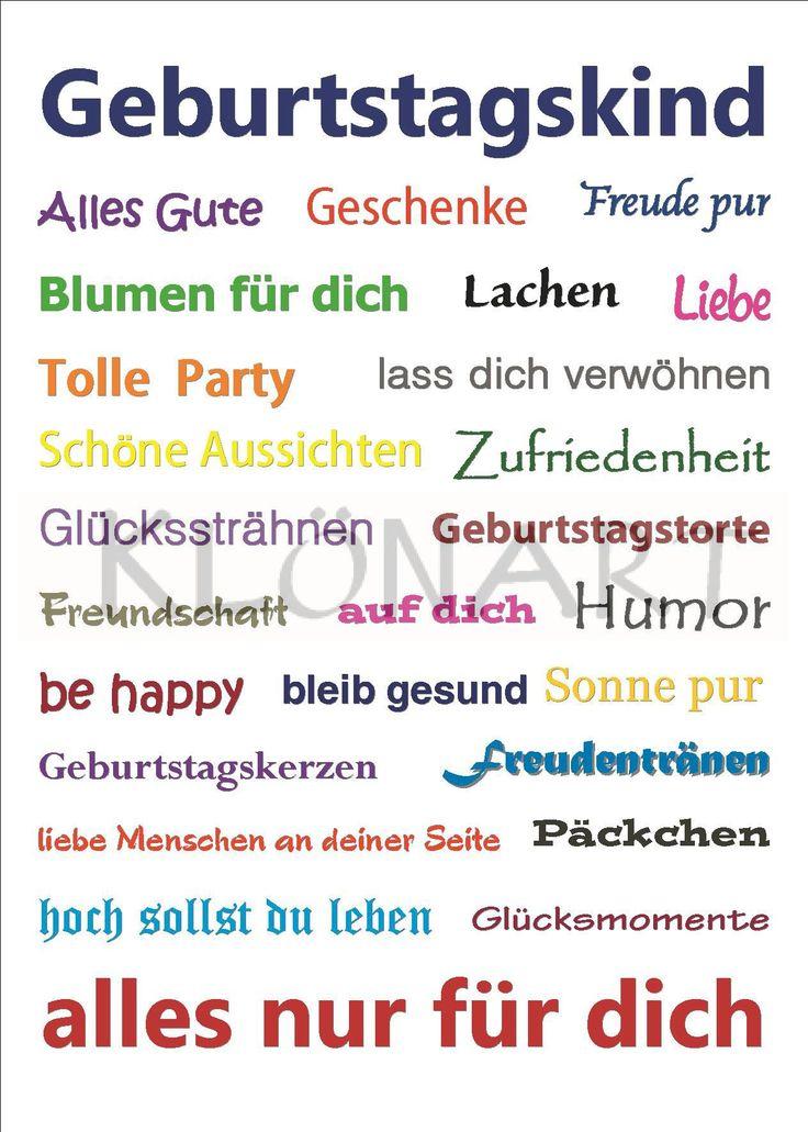 KLÖNART - Kartenkunst und mehr Postkarte  Buchstaben + Worte GEBURTSTAGSKIND kontakt@kloenart.de www.facebook.com/kloenart