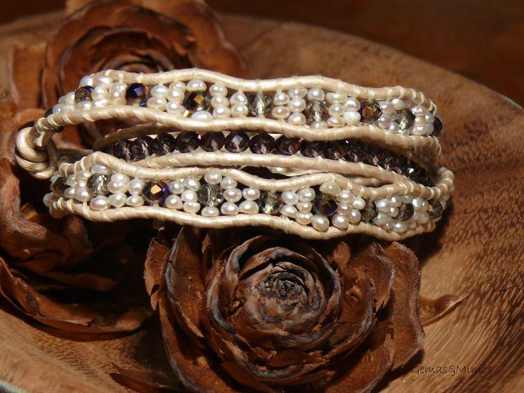 Perlas y cristal checo #jewelry #handmade #gemstones #joyeria #hechoamano #artesania #piedras #wraps
