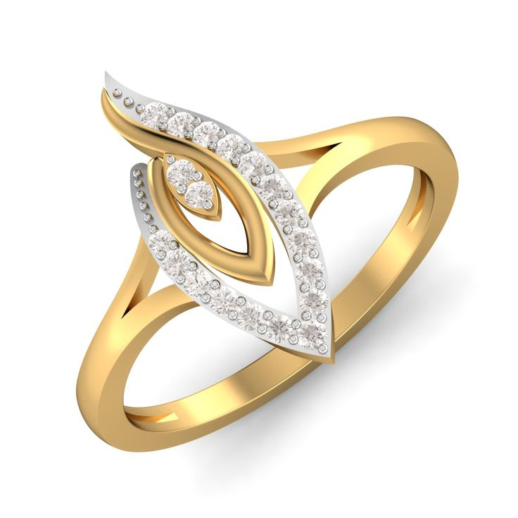 Embracement is the more endured form of love. The design endorses the same. Do embrace this lovely golden ring flaunting diamonds, the same way you flaunt your love!