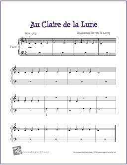 Au Clair de la Lune   Free Sheet Music for Easy Piano - http://makingmusicfun.net/htm/f_printit_free_printable_sheet_music/au-clair-de-la-lune-piano-solo.htm