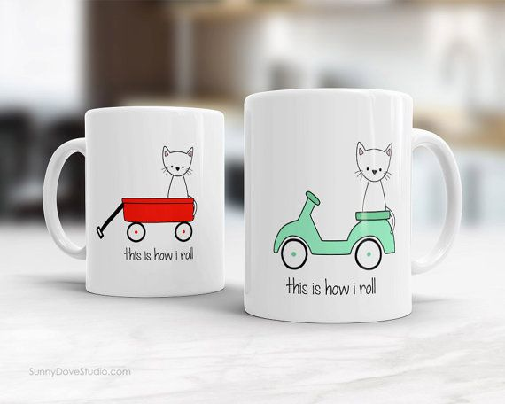 Funny Mug Gift For Friend Girlfriend BFF Her Vespa Cat Pun How I Roll Cute Coffee Mugs Birthday Graduation New Job Congratulations Gifts  This Is How I Roll. This cute mug is a sweet gift for your bff, girlfriend, sister, niece, the cat and pun lovers in your life. Perfect for birthday gifts, Christmas, congratulations, or just because, send this funny kitty on her vespa and brighten their day! This cutie also makes a fun treat for yourself, a sweet addition to any daily coffee routine…