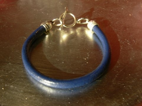Blue Lether Bracelet