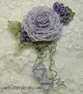 Lambs and Ivy Designs: Lilac Ribbonwork Rose