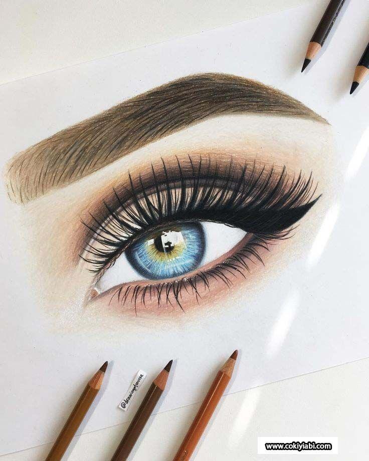 Desenhado Lady Real 3d colorido olho desenhos e técnicas com lápis … # 3D #A …   – Bilder