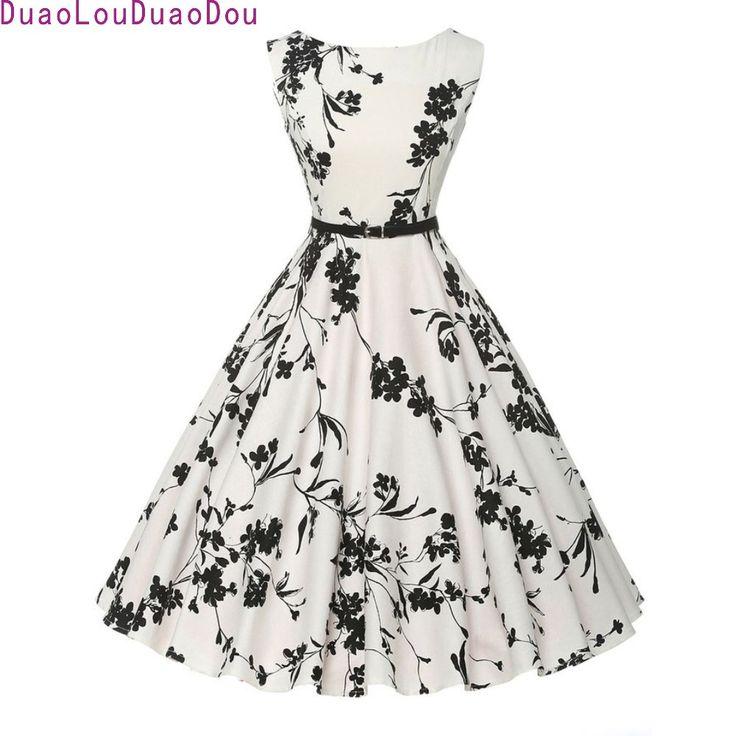 Women Summer Dress 2017 plus size clothing Audrey hepburn Floral robe Retro Swing Casual 50s Vintage Rockabilly Dresses Vestidos