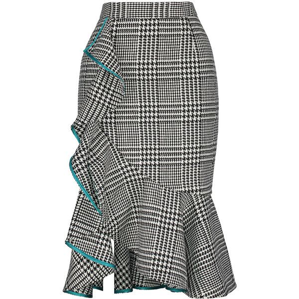 SheIn(sheinside) Wales Check Ruffle Skirt ($28) ❤ liked on Polyvore featuring skirts, black and white, bodycon skirt, long maxi skirts, black and white checkered skirt, houndstooth skirt and ruffle skirt