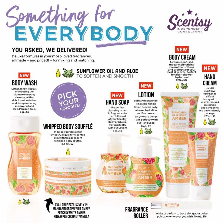 Scentsy Body Line--new for Fall/Winter 2017. Body wash, whipped body souffle, hand soap, lotion, body cream and hand cream. Smell good from head to toe! Find me on Facebook, Tracy Todaro Independent Scentsy Consultant and browse at: https://tracytodaro.scentsy.us