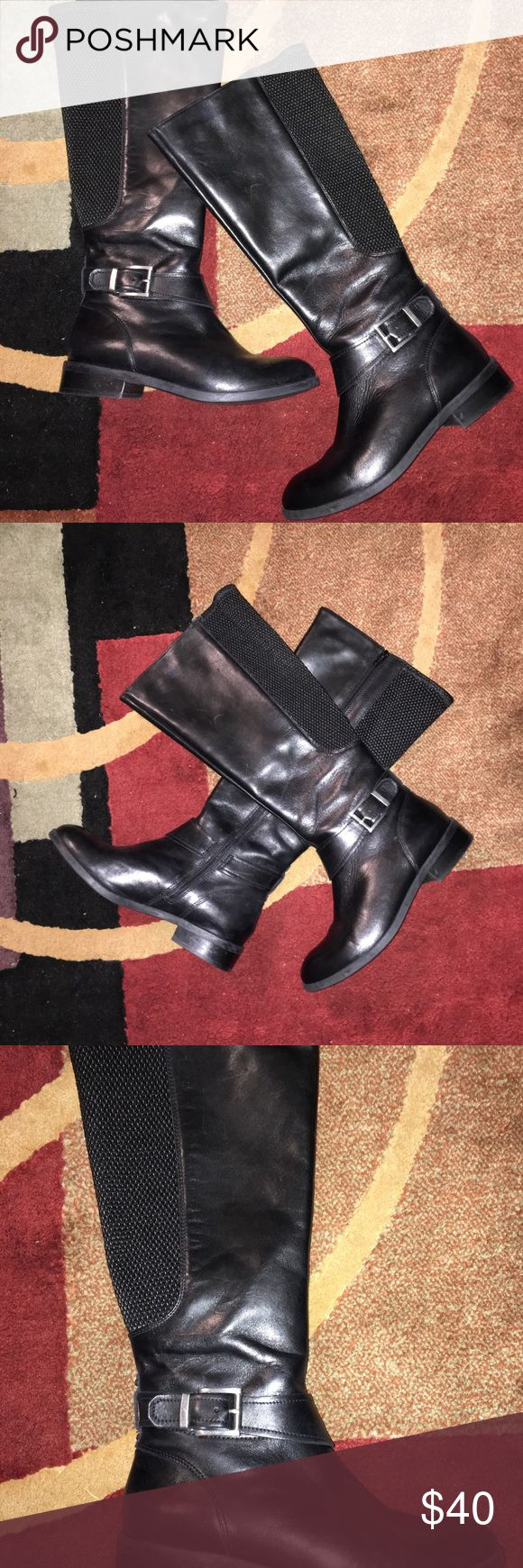 CLARKS LEATHER BOOTS CLARKS BLACK UPPER LEATHER BOOTS WITH BUCKLE ACCENT N RUBBER STRETCHY BACKING PERFECT FOR LADIES WITH BIG CALVES EXCELLENT CONDITION WORN COUPLE TIMES SIZE 7.5M Clarks Shoes Winter & Rain Boots